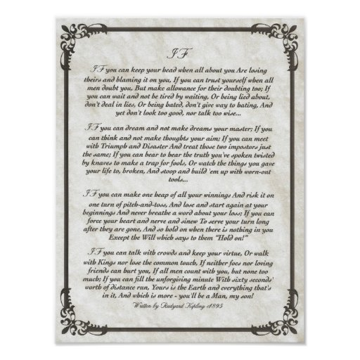 IF Inspiring Poem for Young Men by Rudyard Kipling Posters