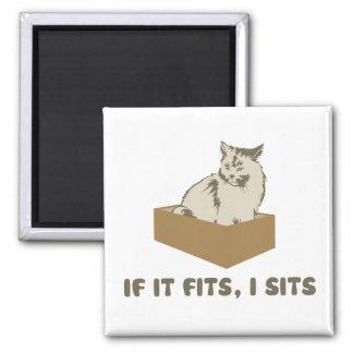 If It Fits, I Sits Cat Square Magnet