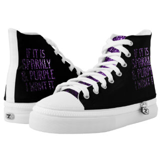If it is Sparkly and purple I want it | Black High Tops