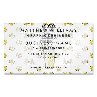 """If Life Gives You Lemons Make.."" & Lemon Pattern Magnetic Business Cards"