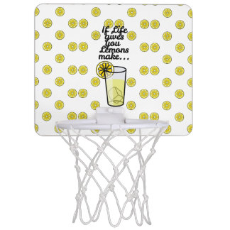 """If Life Gives You Lemons Make.."" & Lemon Pattern Mini Basketball Hoop"