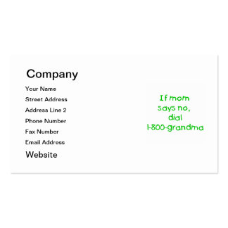 if mom says no...(green) pack of standard business cards