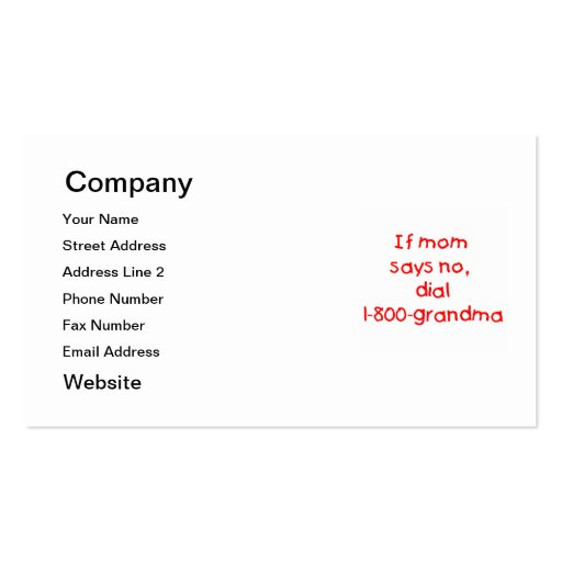 if mom says no...(red) business cards