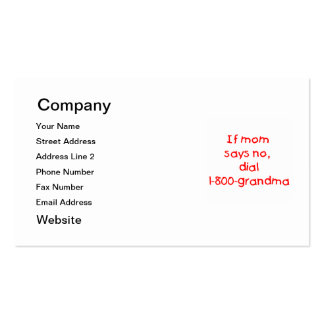 if mom says no...(red) pack of standard business cards