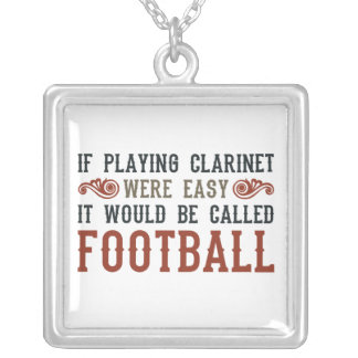 If Playing Clarinet Were easy Square Pendant Necklace