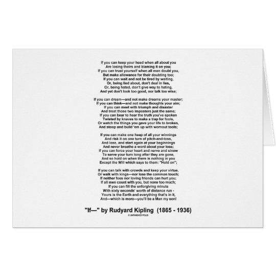 If Poem By Rudyard Kipling (Inspirational Poem) Card