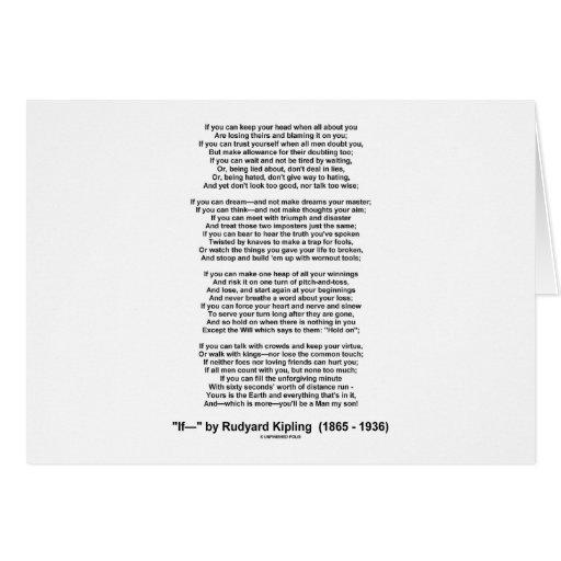 If Poem By Rudyard Kipling (Inspirational Poem) Greeting Card