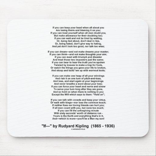 If Poem By Rudyard Kipling (Inspirational Poem) Mousepads