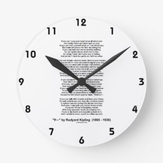 If- Poem by Rudyard Kipling (No Kipling Picture) Round Clock