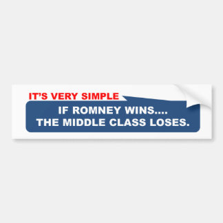 If Romney wins, the middle class loses. Bumper Sticker