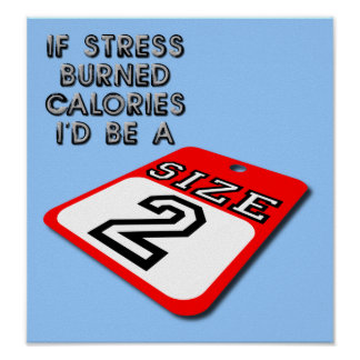 If Stress Burned Calories Funny Poster Sign