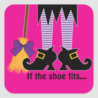 If The Shoe Fits Purple Square Sticker
