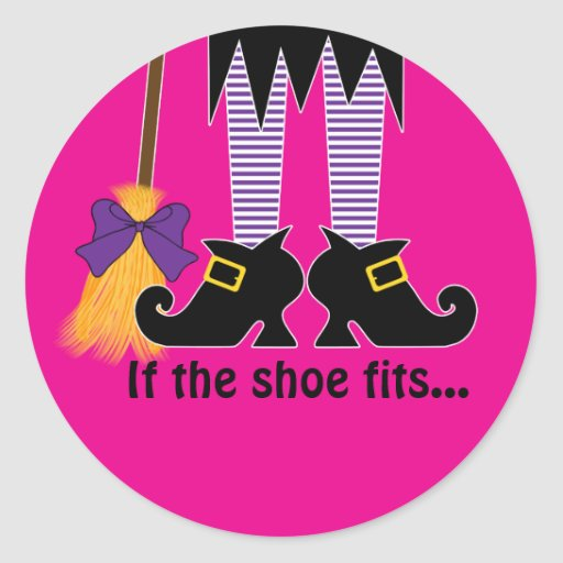If The Shoe Fits Purple Round Stickers