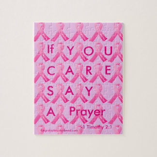 If U Care Say A Prayer Pink Ribbon Puzzle
