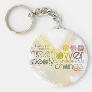 If we could see the Miracle of a Single Flower Basic Round Button Key Ring