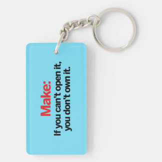 If you can't open it Double-Sided rectangular acrylic key ring