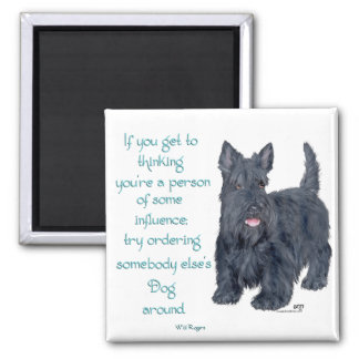 If you get to thinking - Scottish Terrier Wit Square Magnet