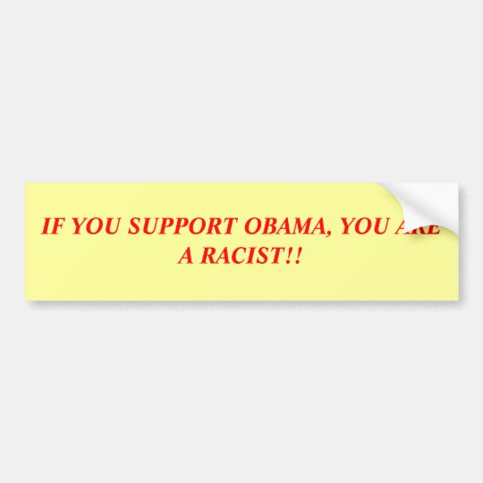 IF YOU SUPPORT OBAMA, YOU ARE A RACIST!! BUMPER STICKER