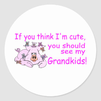 If You Think Im Cute You Should See My Grandkids Round Sticker