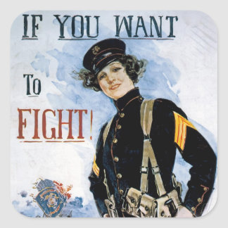 If You Want to Fight! ~ Join the Marines Square Sticker