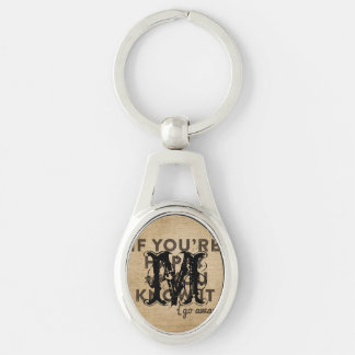 If your happy and you know it Go away Burlap Silver-Colored Oval Key Ring