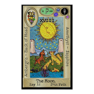 Ifdawn Deepdream Tarot Key 18 ~ The Moon Poster