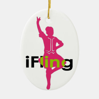 iFling Highland Dancer Double-Sided Oval Ceramic Christmas Ornament