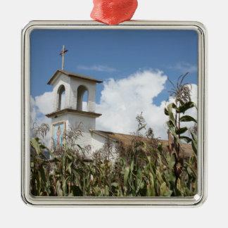 Iglesia Bonita Silver-Colored Square Decoration