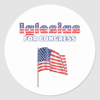 Iglesias for Congress Patriotic American Flag Desi Round Stickers