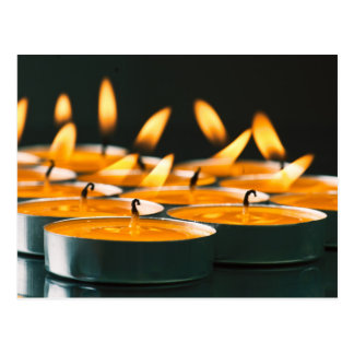 Ignited candles basic yellow postcard