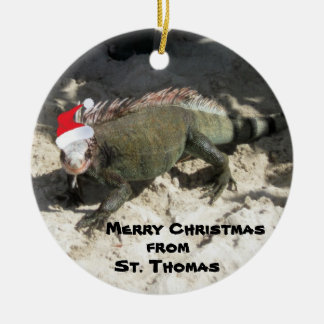 Iguana and Christmas Hat, Merry Christmas , fro... Round Ceramic Decoration