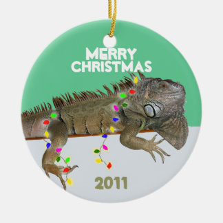 Iguana Christmas Ornament With Year Template