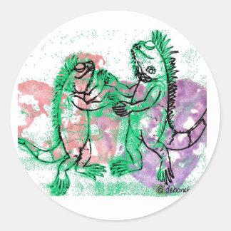 Iguana Dance with You Round Sticker