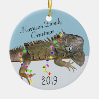 Iguana Family Photo Christmas Ornament