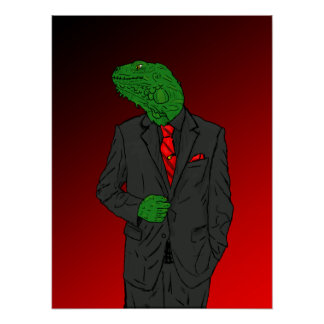 Iguana In a Business Suit Posters