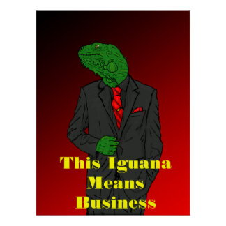 Iguana In a Business Suit Print