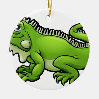 Iguana Lizard Cartoon Character Round Ceramic Decoration