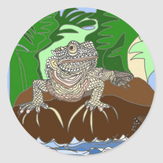 Iguana on a rock classic round sticker
