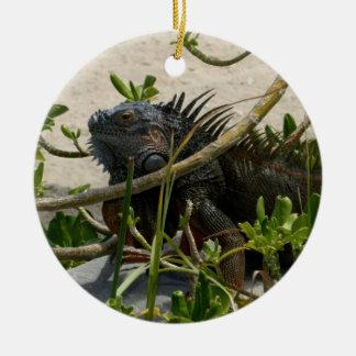 Iguana Round Ceramic Decoration