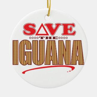 Iguana Save Round Ceramic Decoration