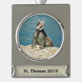 Iguana Tropical Wildlife Silver Plated Banner Ornament