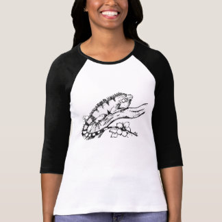 Iguana Vector Design 3/4 sleeve Ladies shirt