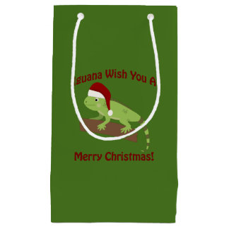 Iguana Wish You A Merry Christmas Small Gift Bag