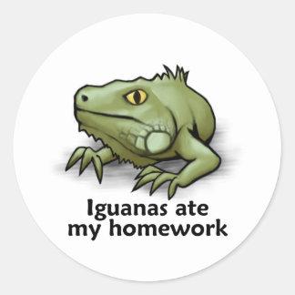Iguanas ate my Homework Classic Round Sticker