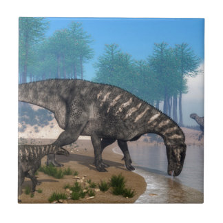 Iguanodon dinosaurs small square tile