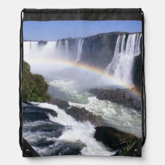 Iguassu Falls, Parana State, Brazil. Aerial view Drawstring Bag