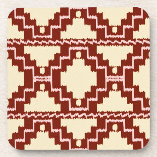 Ikat Aztec Pattern - Beige, Burgundy and Pink Coasters