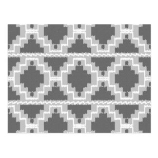 Ikat Aztec Pattern - Dark and light Grey / Gray Postcard
