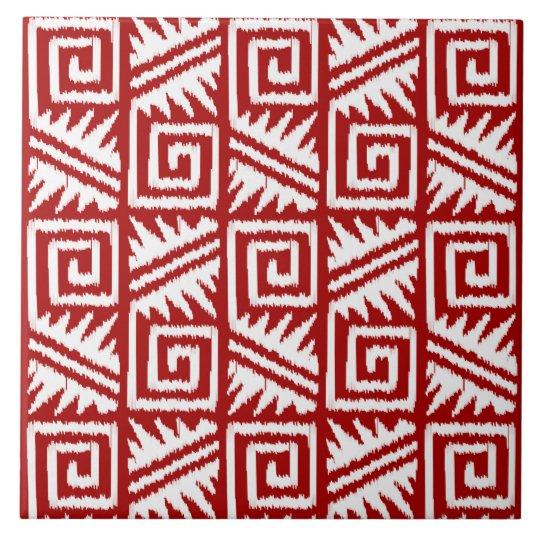 Ikat Aztec Pattern - Dark Red and White