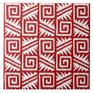 Ikat Aztec Pattern - Dark Red and White Tile